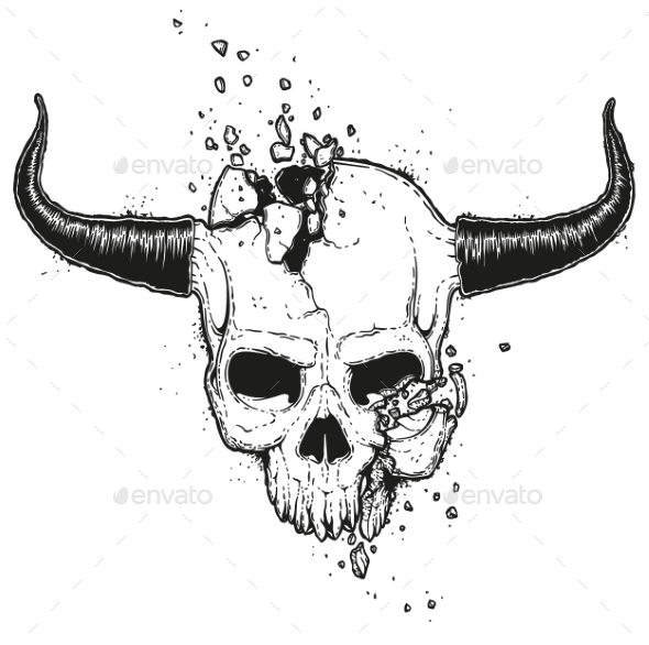Broken Skull Illustration - Miscellaneous Vectors