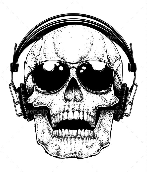 Skull in Sunglasses - Miscellaneous Vectors