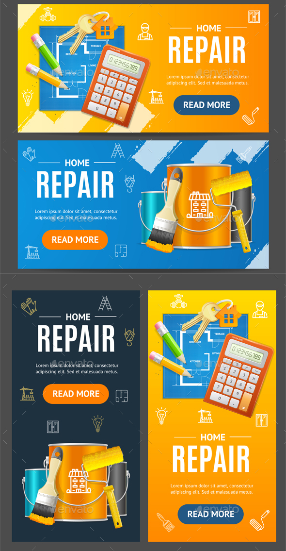 Home Repair Service Banner Set - Concepts Business