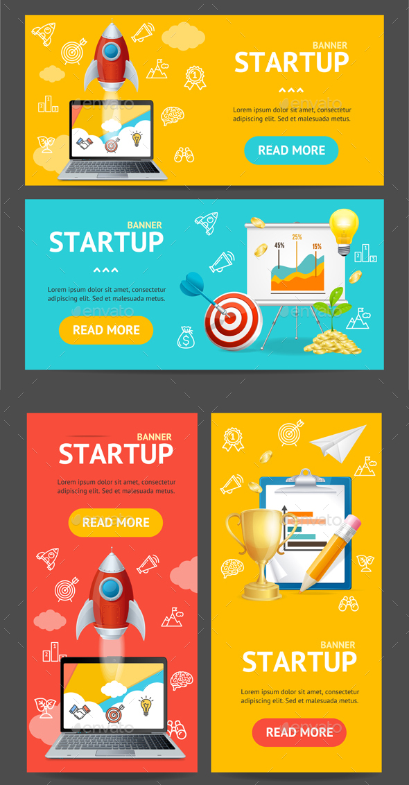 Startup Banner Set. Vector - Concepts Business