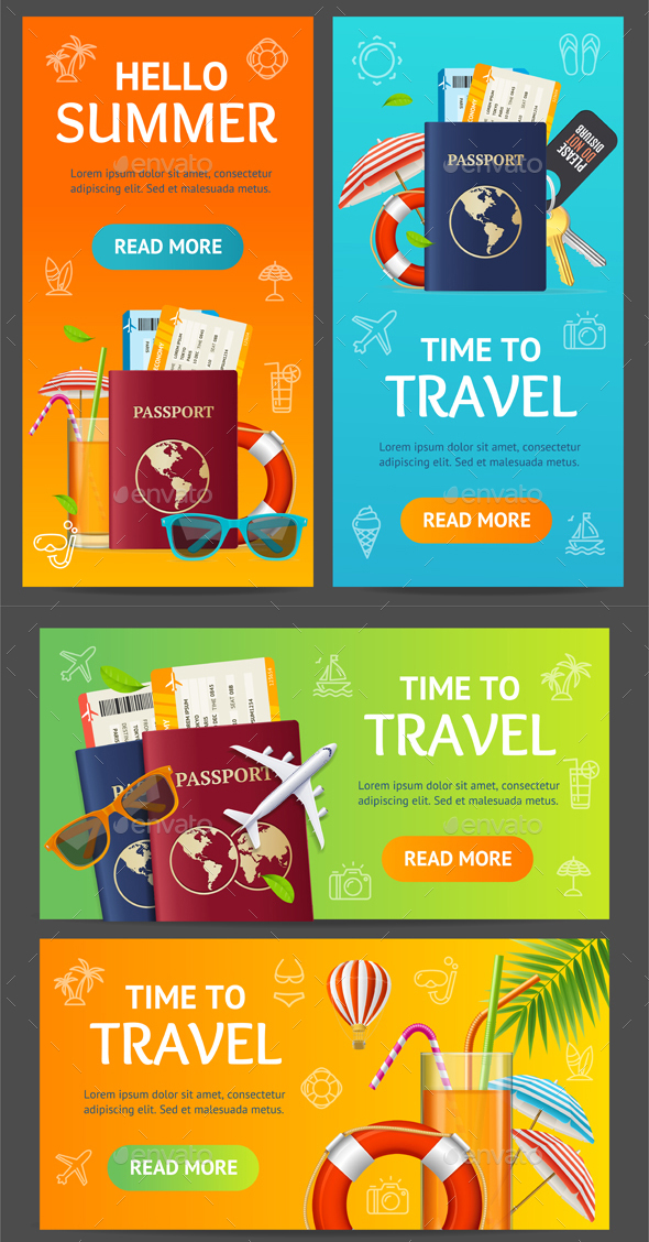 Summer Travel and Tourism Service Banner Set - Travel Conceptual