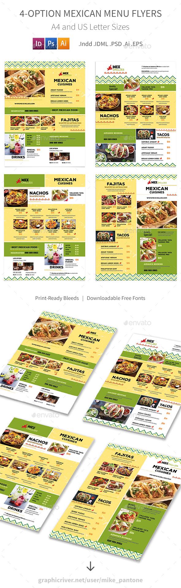 Mexican Restaurant Menu Flyers 2 – 4 Options - Food Menus Print Templates