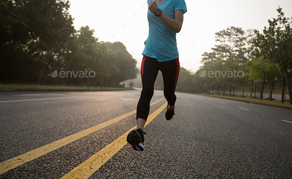 Morning exercise  running on street - Stock Photo - Images