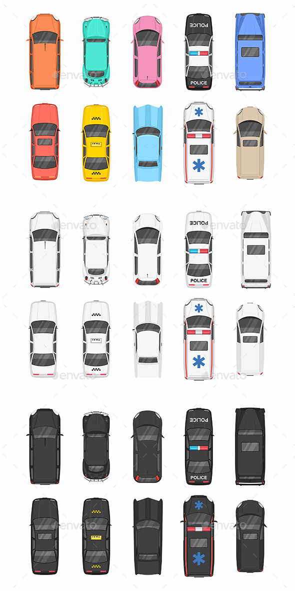 Different Cars Top View - Miscellaneous Characters