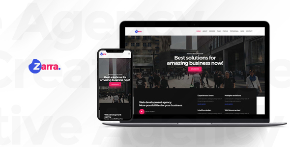 Zarra - One Page Creative Agency HTML Template - Business Corporate