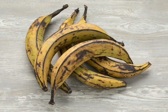 Whole yellow plantains - Stock Photo - Images