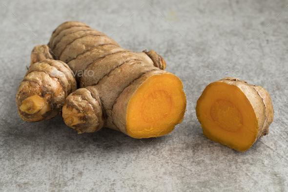 Fresh turmeric rhizome - Stock Photo - Images
