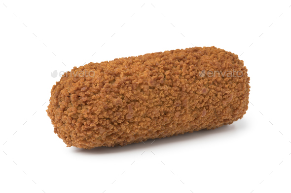 Single deep fried Dutch kroket - Stock Photo - Images