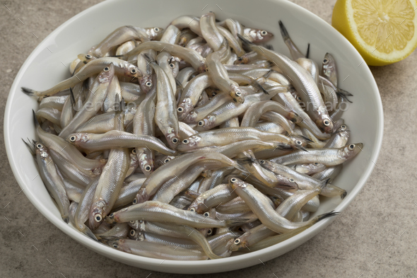 Dish with fresh smelt fishes - Stock Photo - Images