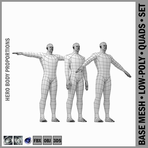 Male Hero Base Mesh with Detaied Head and Limbs in Three Poses - 3DOcean Item for Sale