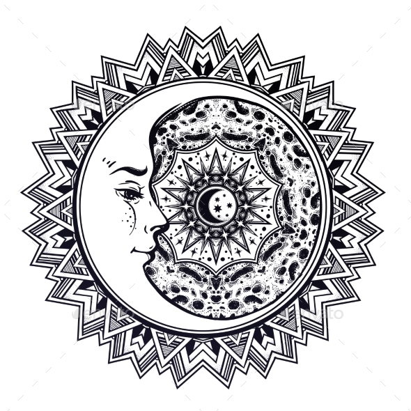 Space Mandala with Crescent Face, Sun and Moon - Landscapes Nature