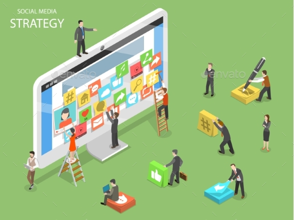 Social Media Strategy Flat Isometric Vector - Concepts Business