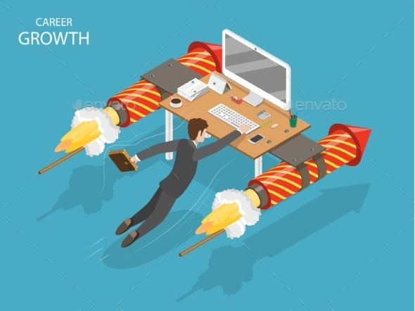 Career Growth Flat Isometric Vector Concept - Concepts Business