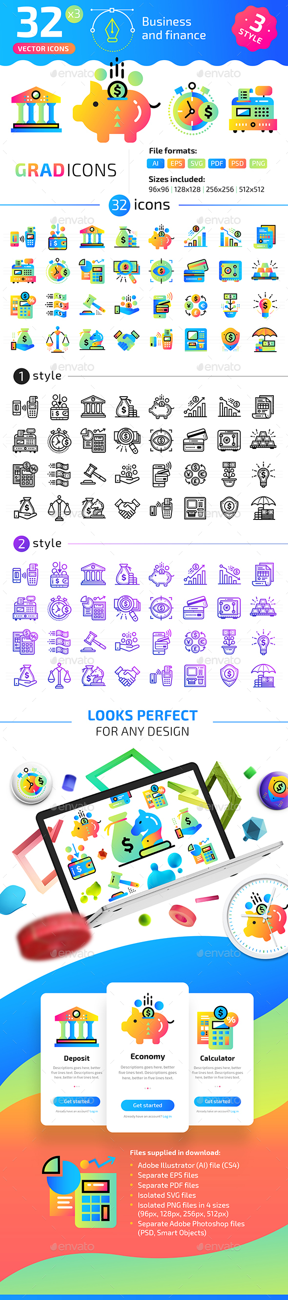 32+ Business and Finance Flat Icons - Icons