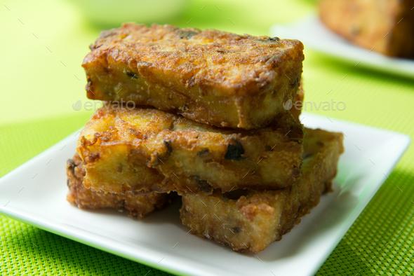 Deep fried pumpkin rice cake - Stock Photo - Images