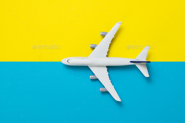 Miniature airplane travel theme - Stock Photo - Images