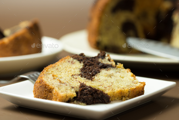 Banana chocolate bundt cake - Stock Photo - Images