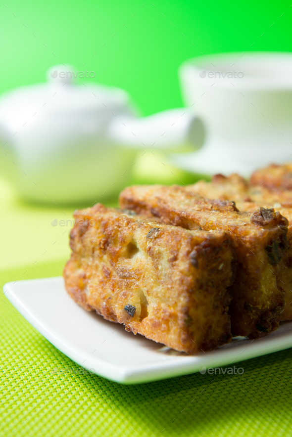 Deep fried pumpkin rice cake - Stock Photo - Images