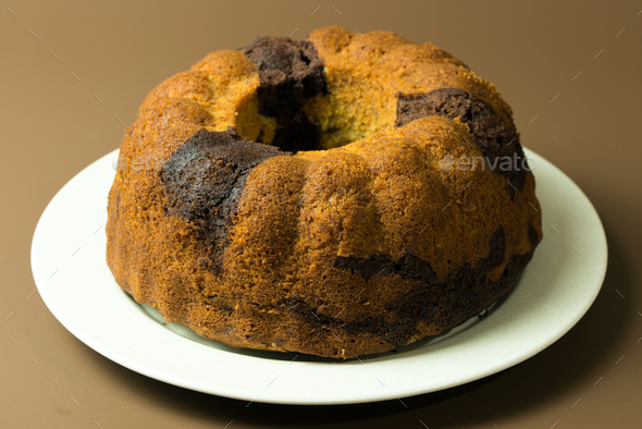 Banana chocolate bundt cake - Stock Photo - Images