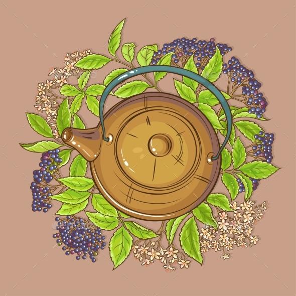 Elderberry Tea in Teapot - Food Objects