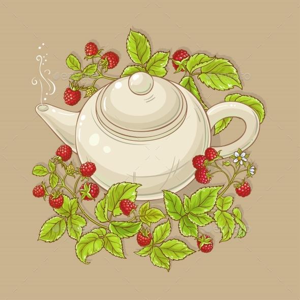 Raspberry Tea Illustration - Food Objects