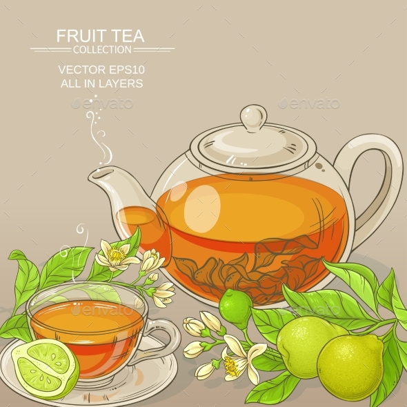 Bergamot Tea Vector Background - Food Objects