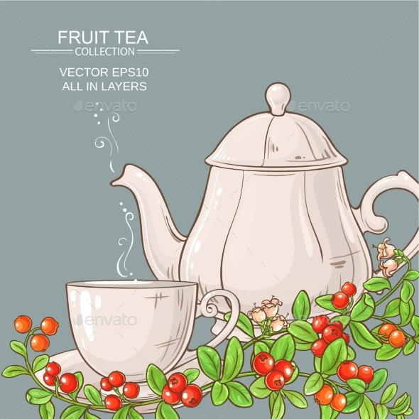 Cup of Cranberry Tea and Teapot - Food Objects