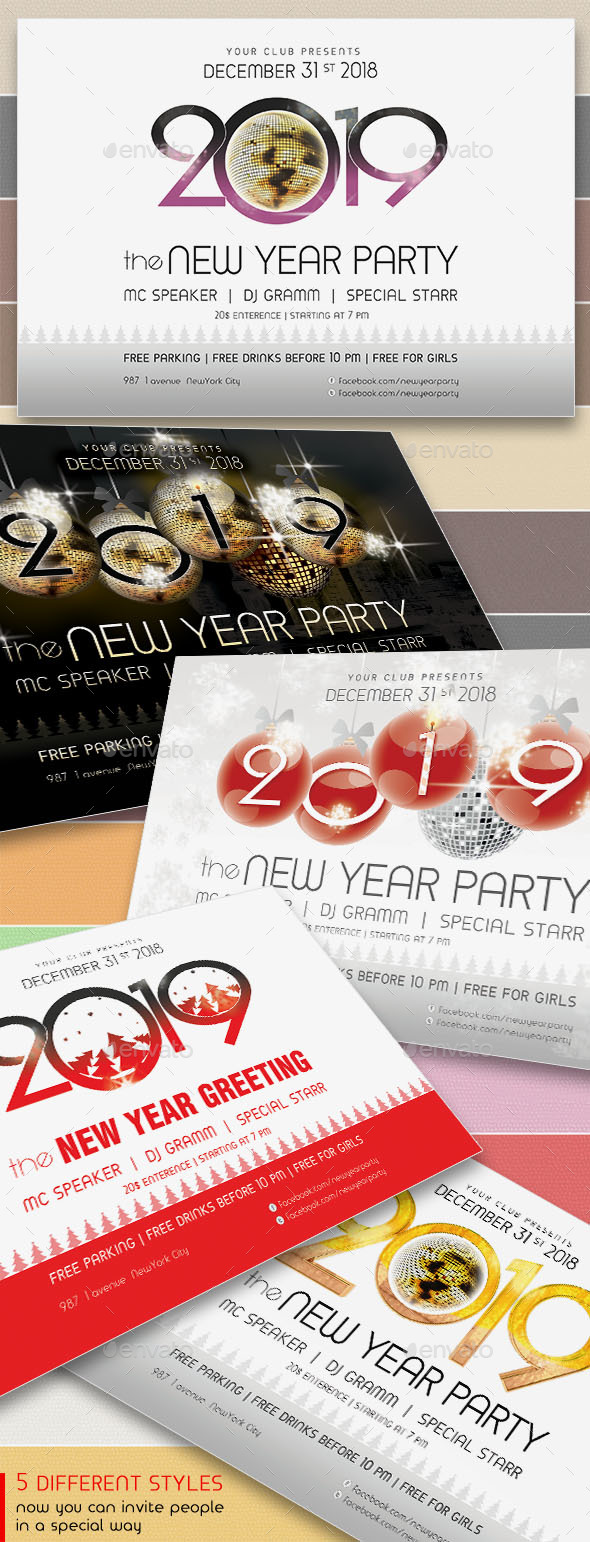 2019 New Year Party Flyers. 5 Different Styles. - Holidays Events