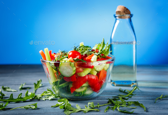 Bowl of salad with fresh vegetables - Stock Photo - Images