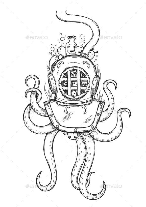 Diver Helmet Doodle - Animals Characters