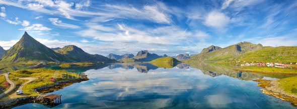 Lofoten summer landscape panorama - Stock Photo - Images
