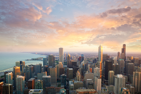 Chicago sunset time - Stock Photo - Images