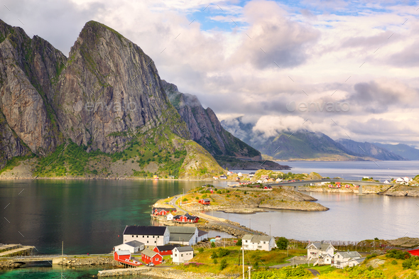 Lofoten summer landscape - Stock Photo - Images
