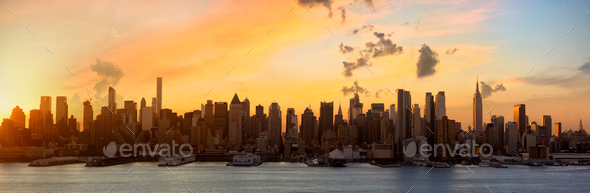 Sunrise over Manhattan - Stock Photo - Images