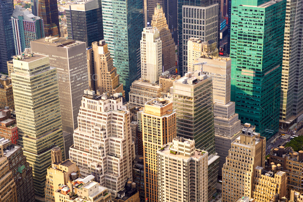 Manhattan aerial view - Stock Photo - Images