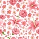Rose and Lily Seamless Pattern. Vector Card. - GraphicRiver Item for Sale