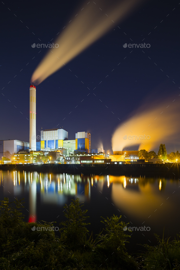 Colorful Industry At Night - Stock Photo - Images
