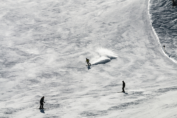 Skiers Against The Light, Austria - Stock Photo - Images