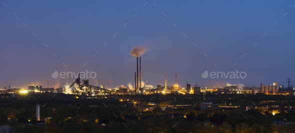 Heavy Industry At Night Panorama - Stock Photo - Images