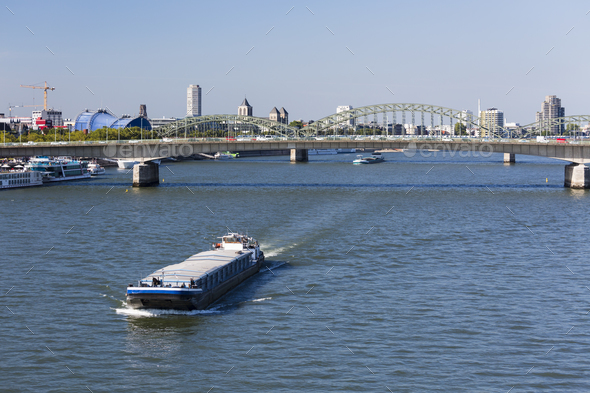 Ship On Rhine River in Cologne, Germany - Stock Photo - Images