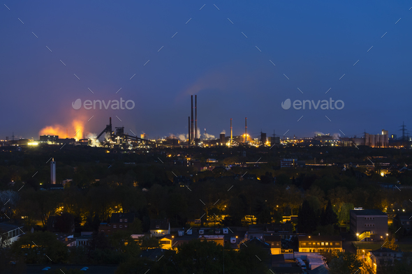Heavy Industry At Night - Stock Photo - Images