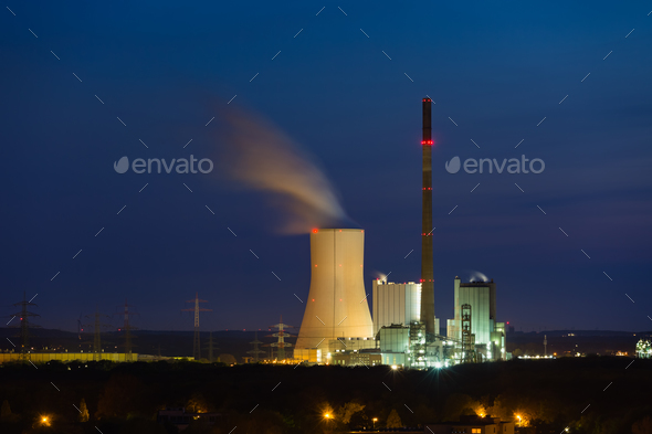Modern Coal Power Station At Night - Stock Photo - Images