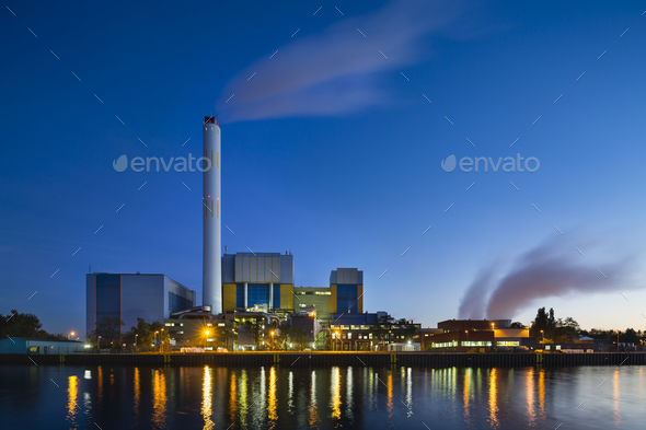 Waste Incineration Plant In The Evening - Stock Photo - Images