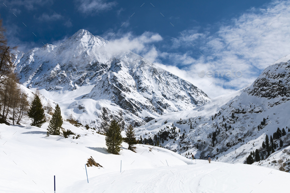 Schrankogel in Winter, Austria - Stock Photo - Images