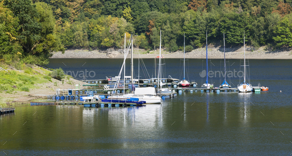 Small Lake Rursee Marina in the Eifel, Germany - Stock Photo - Images
