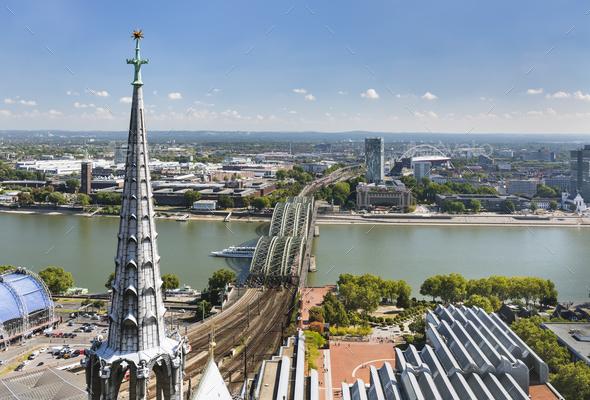 Cologne Hohenzollern Bridge And Rhine, Germany - Stock Photo - Images