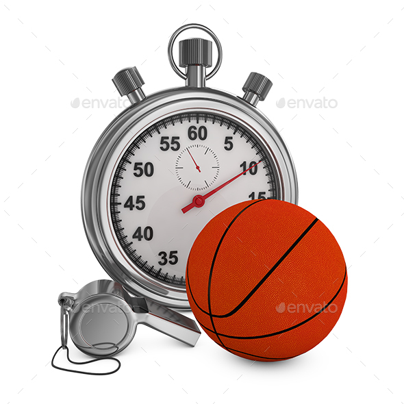 Basketball Whistle and Stopwatch - Objects 3D Renders