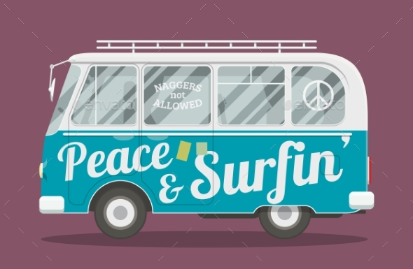 Surfers Hippie Van - Man-made Objects Objects