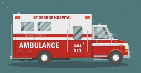 Flat Ambulance Vehicle - Miscellaneous Vectors