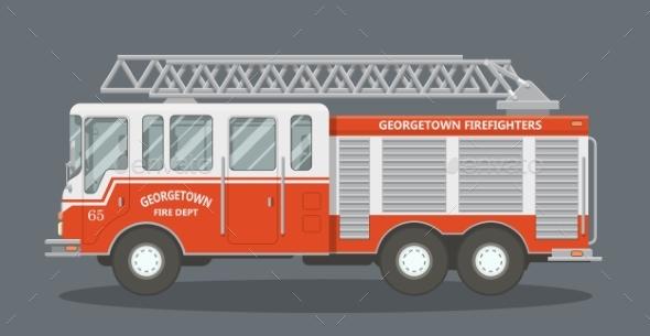 Flat Fire Truck - Man-made Objects Objects